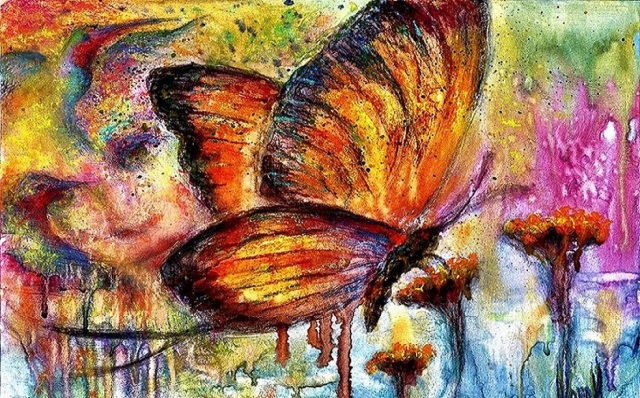 Pastel over watercolor painting of a butterfly, with the face of a woman worked into the background with birds and flowers, accompanied by this poem, also by Kim Novak: